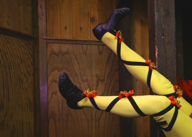 Yellow cross-gartered stockings