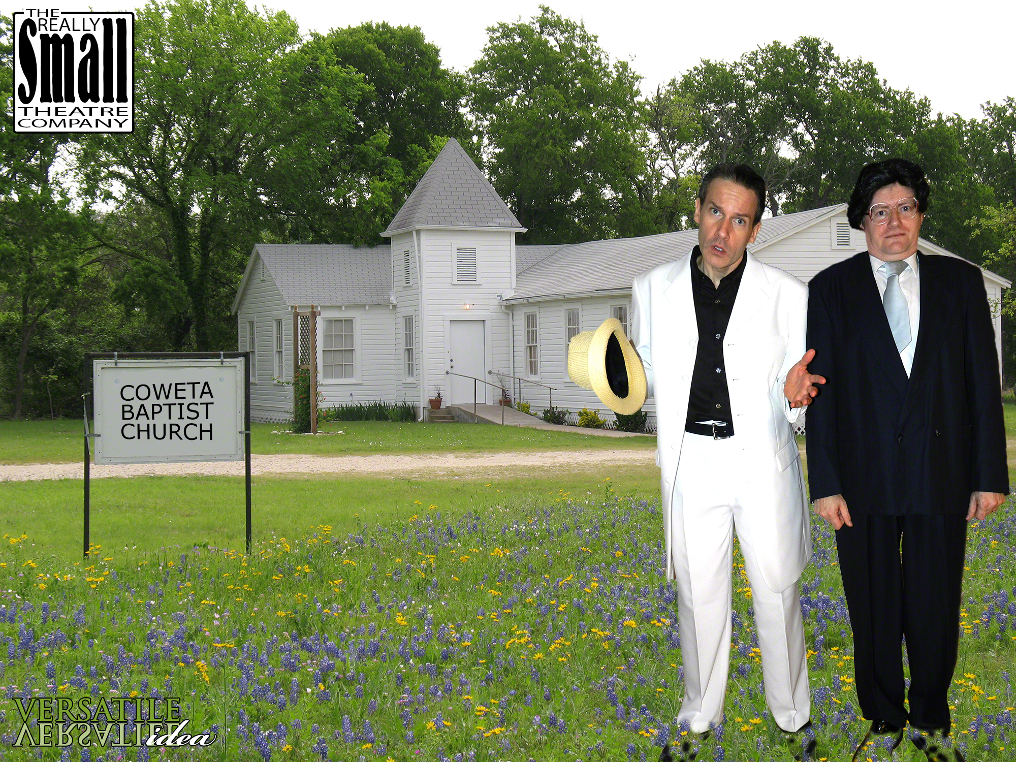 Local preacher, Reverend Spikes, and city council candidate, Phinas Blye pose in front of Coweta Baptist Church.