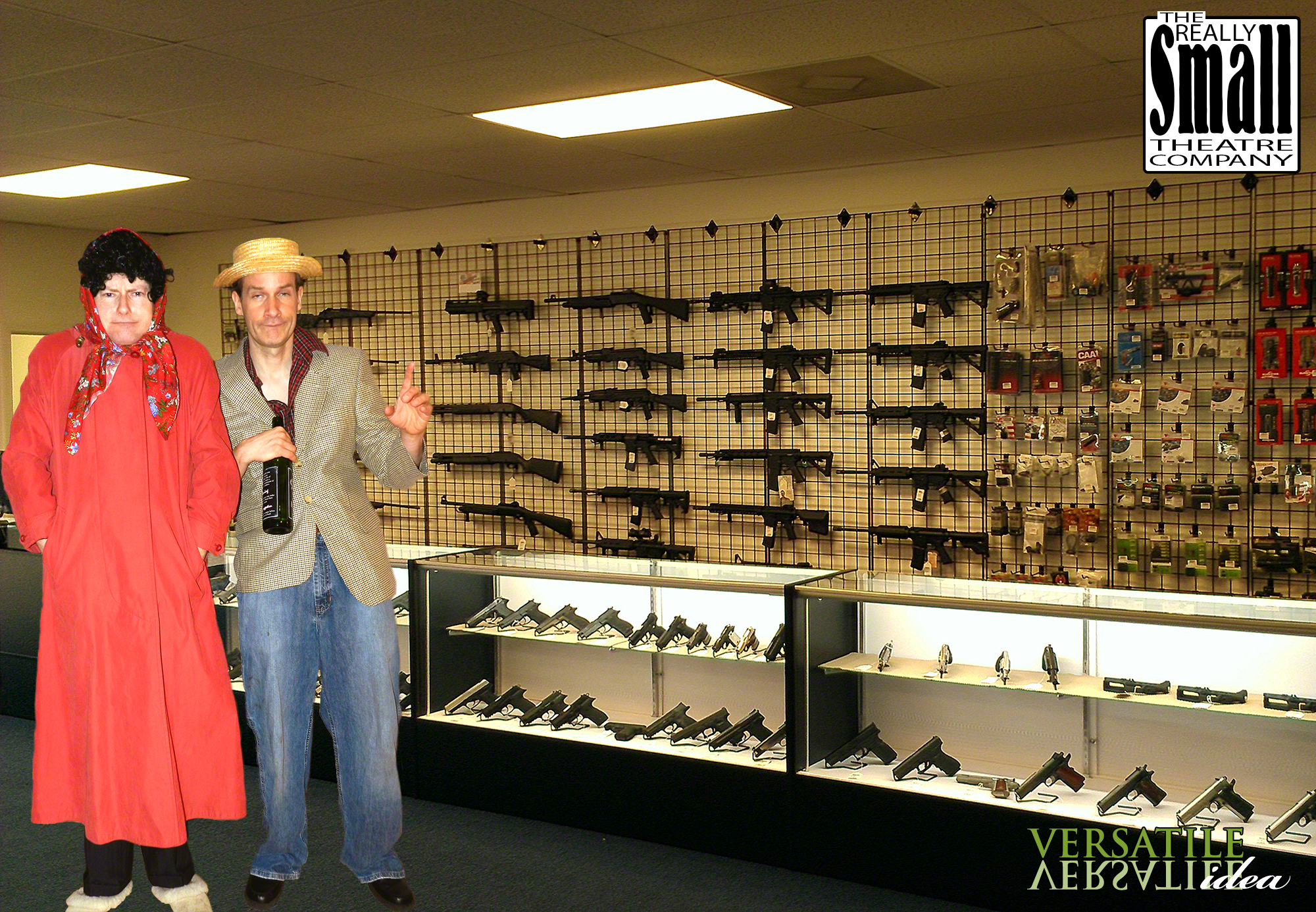 Didi and RR Snavely standing proudly in 'Didi's Used Weapons'.